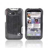 Motorola Defy Hard Case - Silver Lines on Black