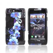 Motorola Droid RAZR Hard Case - Blue Flowers on Black
