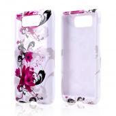 Magenta Flowers w/ Black Vines on White Hard Case for Motorola Droid Ultra/ Droid MAXX