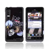 "Motorola Droid 3 Hard Case - Bald Eagle Holding Skull ""Bad Bone"" on Black"