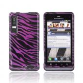 Motorola Droid 3 Hard Case - Purple/ Black Zebra