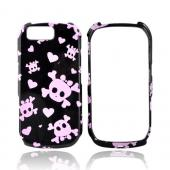 Motorola i1 Hard Case - Pink Skulls and Hearts on Black