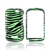 Motorola Clutch+ i475 Hard Case - Green/ Black Zebra