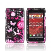 Motorola Droid RAZR MAXX Hard Case - Pink Butterflies & Flowers on Black