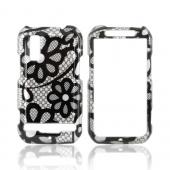 Motorola Photon 4G Hard Case - Black Lace Flowers on Silver