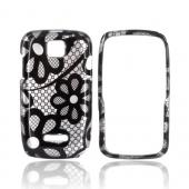 Motorola Theory Hard Case - Black Lace Flowers on Silver