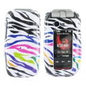 Motorola Barrage & Quantico Hard Case - Rainbow Zebra on White