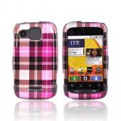 Motorola Citrus WX445 Hard Case - Plaid Pattern of Hot Pink, Brown, Silver