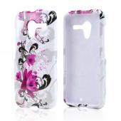 Magenta Flowers & Black Vines on White Hard Case for Motorola Moto X