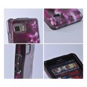 Hard Case Pink Flowers on Maroon Motorola Droid Bionic XT875