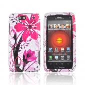 Motorola Droid 4 Hard Case - Pink Flower Splash on White