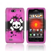 Motorola Droid 4 Hard Case - White Skull w/ Bow on Hot Pink