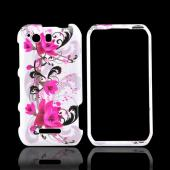 Motorola Photon Q 4G LTE Hard Case - Magenta Flowers & Black Vines on White