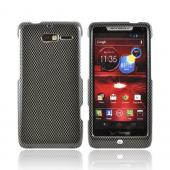 Motorola Droid RAZR M Hard Case - Black/ Gray Carbon Fiber Design