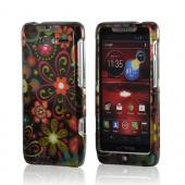 Pink/ Orange Retro Flowers on Black Hard Case for Motorola Droid RAZR M