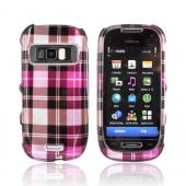 Nokia Astound C7-00 Hard Case - Hot Pink/ Pink/ Brown Plaid on Silver