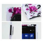 Magenta Flowers w/ Black Vines on White Hard Case for Nokia Lumia 1020