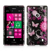 Hot Pink Flowers & Butterflies on Black Hard Case for Nokia Lumia 521