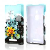 Yellow Lily w/ Swirls on Turquoise/ Black Hard Case for Nokia Lumia 925