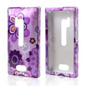 Dark Purple/ Purple Retro Flowers on Lavender Hard Case for Nokia Lumia 928