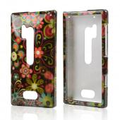 Pink/ Orange Retro Flowers on Black Hard Case for Nokia Lumia 928