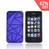 AT&T/ Verizon Apple iPhone 4, iPhone 4S Hard Case w/ Geometric Shapes - Blue