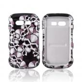 Pantech Caper Hard Case - Silver Skulls on Black