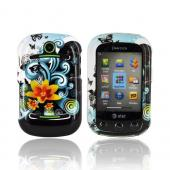Pantech Pursuit 2 P6010 Hard Case - Yellow Lilly w/ Swirls on Turquoise/ Black
