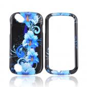 Pantech Laser P9050 Hard Case - Blue Flowers on Black
