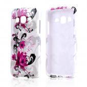 Magenta Flowers w/ Black Vines on White Hard Case for Samsung Ativ S Neo