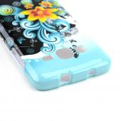 Yellow Lily w/ Swirls on Turquoise/ Black Hard Case for Samsung Ativ S Neo