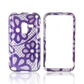 Samsung Conquer 4G Hard Case - Purple Lace Flowers on Silver