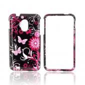 Samsung Epic 4G Touch Hard Case - Pink Flowers & Butterflies on Black