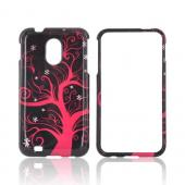 Samsung Epic 4G Touch Hard Case - Hot Pink Tree on Black