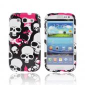 Samsung Galaxy S3 Hard Case - Hot Pink/ White/ Black Falling Skulls