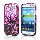 Samsung Galaxy S3 Hard Case - Black Swirl Design on Purple