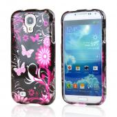 Pink Flowers & Butterflies on Black Hard Case for Samsung Galaxy S4