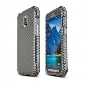 Black/ Gray Carbon Fiber Design Samsung Galaxy S5 Active Hard Case Cover; Perfect fit as Best Coolest Design Plastic Cases
