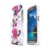 Magenta Flowers on White Samsung Galaxy S5 Active Hard Case Cover; Perfect fit as Best Coolest Design Plastic Cases