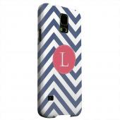 Geeks Designer Line (GDL) Samsung Galaxy S5 Matte Hard Back Cover - Cherry Button Monogram L on Navy Blue Zig Zags