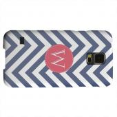 Geeks Designer Line (GDL) Samsung Galaxy S5 Matte Hard Back Cover - Cherry Button Monogram W on Navy Blue Zig Zags