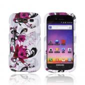Samsung Galaxy S Blaze 4G Hard Case - Magenta Flower & Black Vines on White