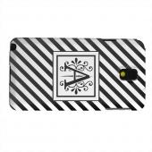 Geeks Designer Line (GDL) Samsung Galaxy Note 3 Matte Hard Back Cover - Vintage Vine Monogram A On Black Slanted Stripes