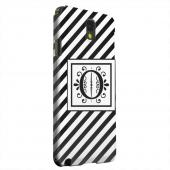 Geeks Designer Line (GDL) Samsung Galaxy Note 3 Matte Hard Back Cover - Vintage Vine Monogram O On Black Slanted Stripes