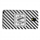 Geeks Designer Line (GDL) Samsung Galaxy Note 3 Matte Hard Back Cover - Vintage Vine Monogram V On Black Slanted Stripes