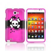 Samsung Galaxy Note Hard Case - White Skull w/ Bow on Hot Pink