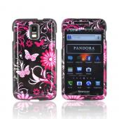 Samsung Galaxy S2 Skyrocket Hard Case - Hot Pink Flowers & Butterflies on Black