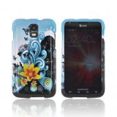 Samsung Galaxy S2 Skyrocket Hard Case - Yellow Lily & Swirls on Turquoise/ Black