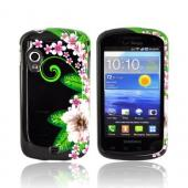 Samsung Stratosphere i405 Hard Case - White/ Green Flower on Black