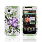 Samsung Fascinate i500 Hard Case - Purple Lilly on Green/ White